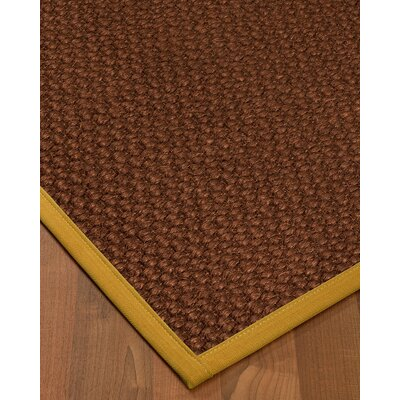 Kerrick Border Hand-Woven Brown/Tan Area Rug Rug Size: Rectangle 5 x 8, Rug Pad Included: Yes