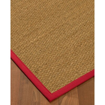 Anya Border Hand-Woven Beige/Red Area Rug Rug Size: Rectangle 9 x 12, Rug Pad Included: Yes