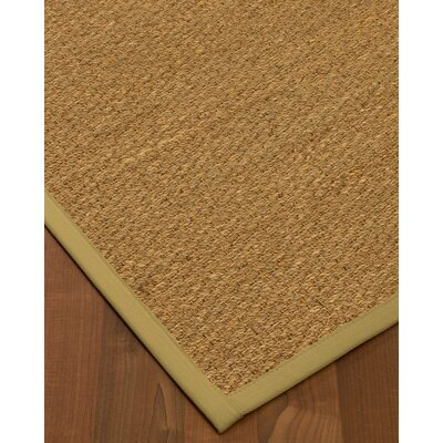 Anya Border Hand-Woven Beige/Sand Area Rug Rug Size: Rectangle 5 x 8, Rug Pad Included: Yes