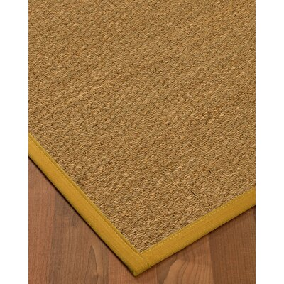 Anya Border Hand-Woven Beige/Olive Area Rug Rug Size: Runner 26 x 8, Rug Pad Included: No