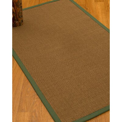 Huntwood Border Hand-Woven Brown/Green Area Rug Rug Size: Rectangle 6 x 9, Rug Pad Included: Yes