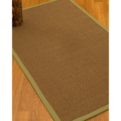 Huntwood Border Hand-Woven Brown/Olive Area Rug Rug Size: Rectangle 6 x 9, Rug Pad Included: Yes