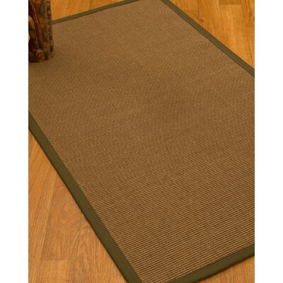 Huntwood Border Hand-Woven Brown/Malt Area Rug Rug Size: Rectangle 4 x 6, Rug Pad Included: Yes