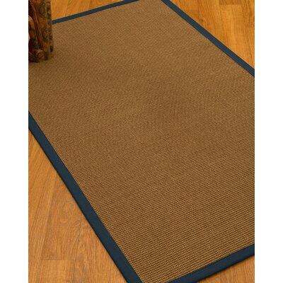 Huntwood Border Hand-Woven Brown/Marine Area Rug Rug Size: Runner 26 x 8, Rug Pad Included: No