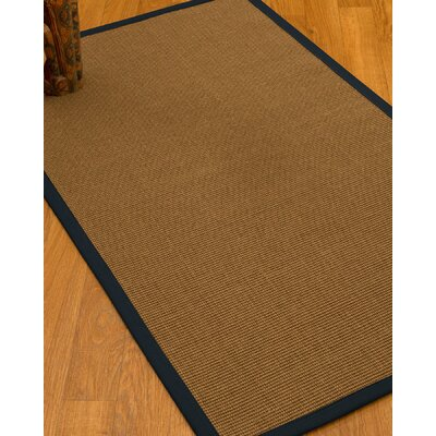 Huntwood Border Hand-Woven Brown/Midnight Blue Area Rug Rug Size: Rectangle 6 x 9, Rug Pad Included: Yes