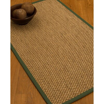 Heier Border Hand-Woven Brown/Green Area Rug Rug Size: Rectangle 12 x 15, Rug Pad Included: Yes