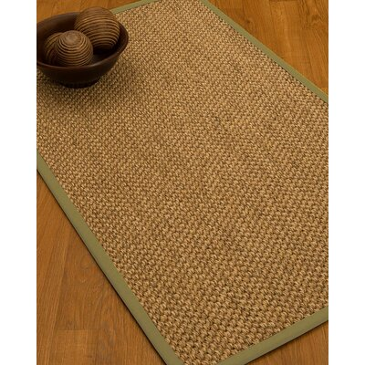 Heier Border Hand-Woven Brown/Khaki Area Rug Rug Size: Rectangle 6 x 9, Rug Pad Included: Yes
