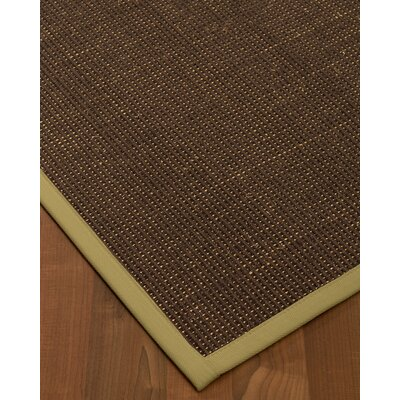 Kersh Border Hand-Woven Brown/Natural Area Rug Rug Size: Rectangle 6 x 9, Rug Pad Included: Yes