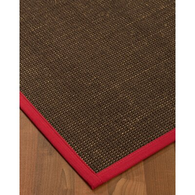 Kersh Border Hand-Woven Brown/Red Area Rug Rug Size: Rectangle 9 x 12, Rug Pad Included: Yes