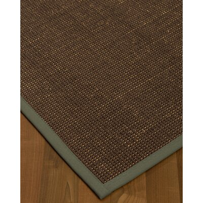 Kersh Border Hand-Woven Brown/Stone Area Rug Rug Size: Rectangle 9 x 12, Rug Pad Included: Yes