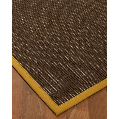 Kersh Border Hand-Woven Brown/Tan Area Rug Rug Size: Rectangle 9 x 12, Rug Pad Included: Yes