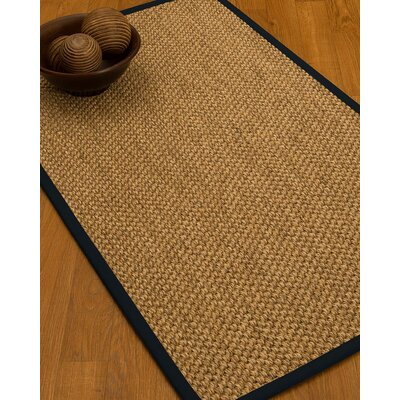 Heier Border Hand-Woven Brown/Midnight Blue Area Rug Rug Size: Runner 26 x 8, Rug Pad Included: No