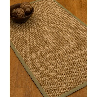 Heier Border Hand-Woven Brown/Natural Area Rug Rug Size: Rectangle 6 x 9, Rug Pad Included: Yes