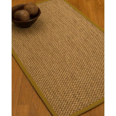 Heier Border Hand-Woven Beige/Tan Area Rug Rug Size: Rectangle 5 x 8, Rug Pad Included: Yes