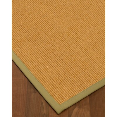 Vannatter Border Hand-Woven Green/Natural Area Rug Rug Size: Rectangle 6 x 9, Rug Pad Included: Yes