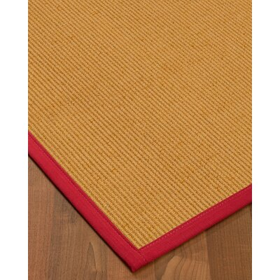 Vannatter Border Hand-Woven Beige/Red Area Rug Rug Size: Rectangle 9 x 12, Rug Pad Included: Yes