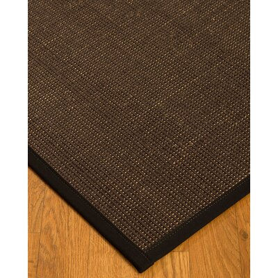 Kersh Border Hand-Woven Brown/Black Area Rug Rug Size: Rectangle 9 x 12, Rug Pad Included: Yes