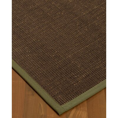 Kersh Border Hand-Woven Brown/Fossil Area Rug Rug Size: Rectangle 6 x 9, Rug Pad Included: Yes