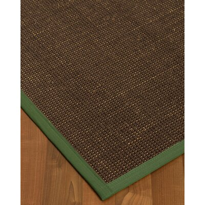 Kersh Border Hand-Woven Brown/Green Area Rug Rug Size: Rectangle 8 x 10, Rug Pad Included: Yes