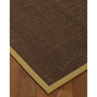 Kersh Border Hand-Woven Brown/Khaki Area Rug Rug Size: Rectangle 12 x 15, Rug Pad Included: Yes