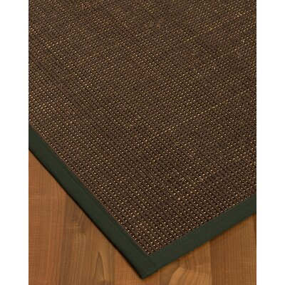 Kersh Border Hand-Woven Brown/Green Area Rug Rug Size: Rectangle 9 x 12, Rug Pad Included: Yes
