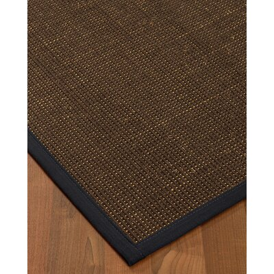 Kersh Border Hand-Woven Brown/Midnight Blue Area Rug Rug Size: Rectangle 6 x 9, Rug Pad Included: Yes
