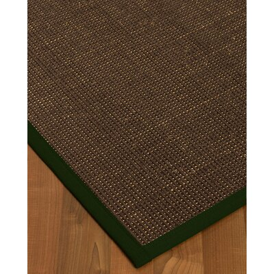Kersh Border Hand-Woven Brown/Moss Area Rug Rug Size: Rectangle 8 x 10, Rug Pad Included: Yes