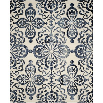 Edmeston Hand-Woven Ivory/Navy Area Rug Rug Size: Rectangle 8 x 10