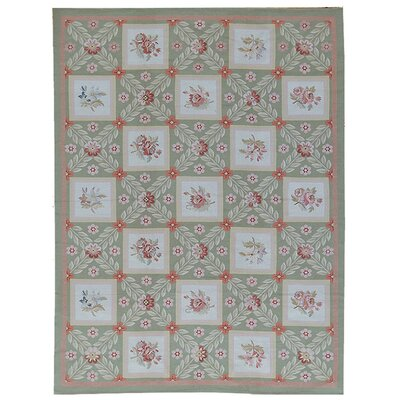 One-of-a-Kind Aubusson Hand-Woven Wool Green/Ivory/Red Area Rug Rug Size: Rectangle 76 x 911