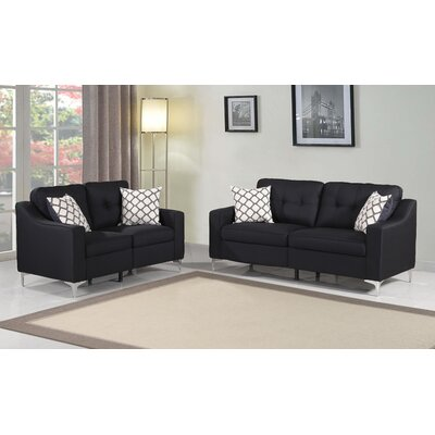 Lawncrest 2 Piece Living Room Set Color: Black