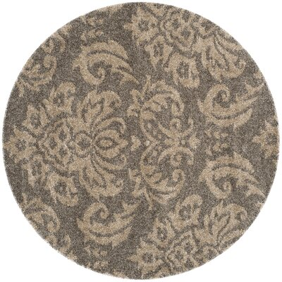Gustav Light Smoke/Beige Area Rug Rug Size: Round 67