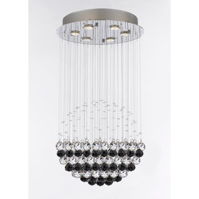 Kilby 6-Light Crystal Chandelier Crystal Color: Black