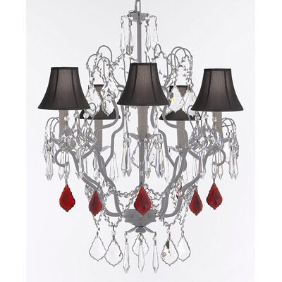 Franklin 5-Light Candle-Style Chandelier Shade Color: Black