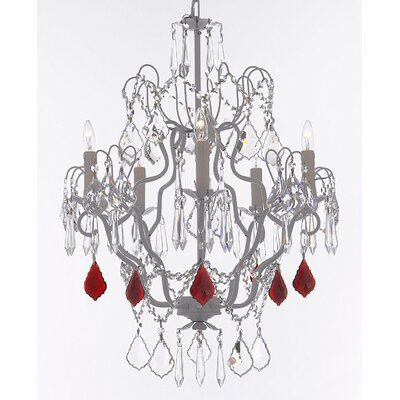 Acosta 5-Light Candle-Style Chandelier Crystal Color: Red