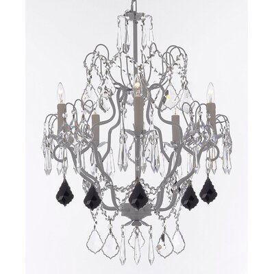 Acosta 5-Light Candle-Style Chandelier Crystal Color: Black