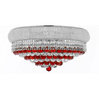 Kew Gardens 15-Light Flush Mount Crystal Color: White