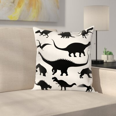 Dinosaur Silhouettes Predators Square Cushion Pillow Cover Size: 16 x 16