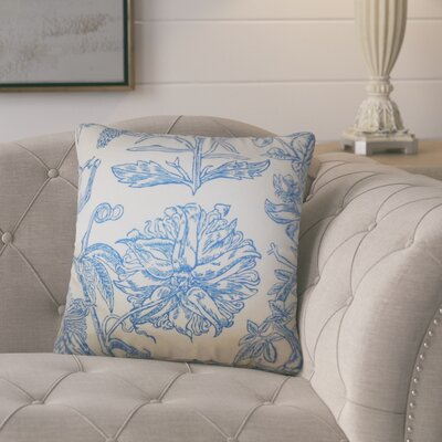 Hopedale Floral Cotton Throw Pillow Color: Blue