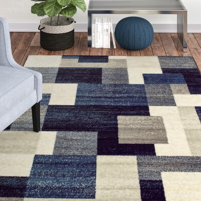 Taira Block Blue Area Rug Rug Size: Rectangle 710 X 10