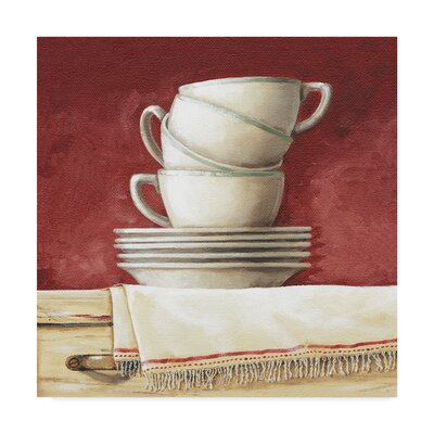 "'Cups and Saucers' Acrylic Painting Print on Wrapped Canvas Size: 14"" H x 14"" W ALI24859-C1414GG"