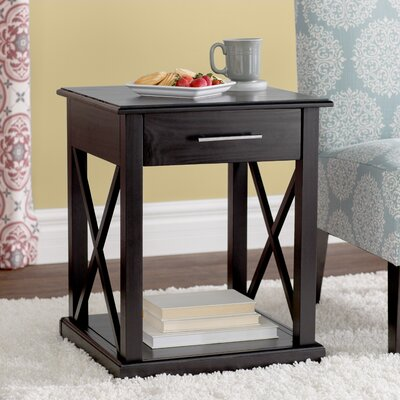 Stronghurst End Table With Storage Color: Black
