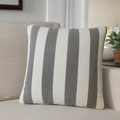 Grossman Striped Cotton Throw Pillow Color: Black