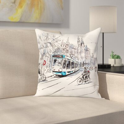 Street Sketch Pillow Cover Size: 18 x 18