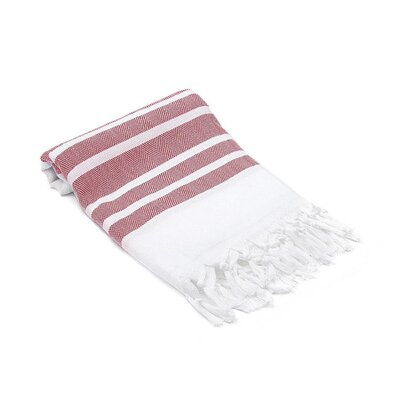 Ruthar Herringbone Turkish Beach Towel Color: Red