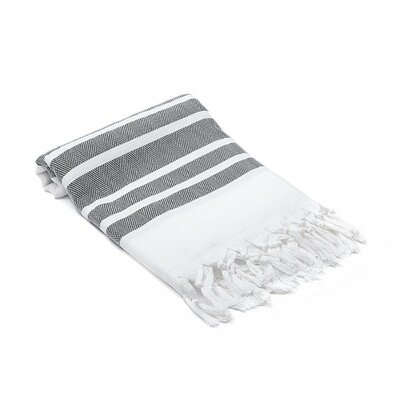 Ruthar Herringbone Turkish Beach Towel Color: Black