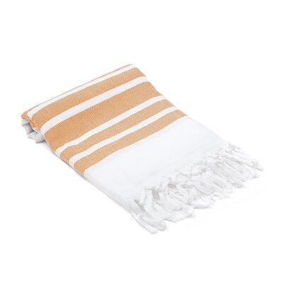 Ruthar Herringbone Turkish Beach Towel Color: Orange