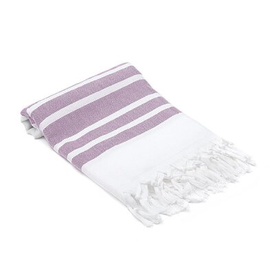 Ruthar Herringbone Turkish Beach Towel Color: Purple