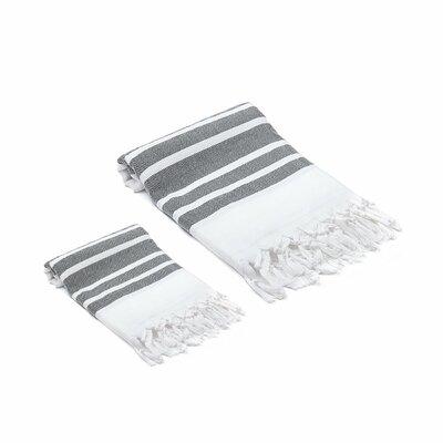 Ruthar Turkish 2 Piece Towel Set Color: Black