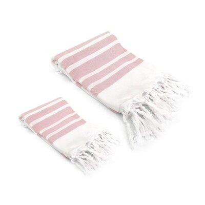 Ruthar Turkish 2 Piece Towel Set Color: Blush