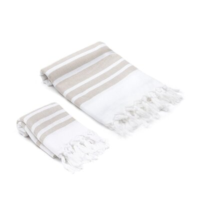 Ruthar Turkish 2 Piece Towel Set Color: Desert Sand